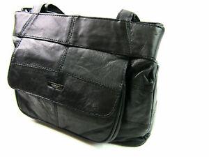 Womens Lorenz Nappa Leather Organizer Long Strap Shoulder Bag Handbag Purse