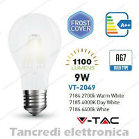Lampadina led V-TAC 9W E27 VT-2049 A67 frost bianca filamento lampada opaca