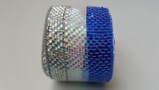 "2.5"" Silver White and Blue Deco Mesh Ribbon"