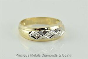 14k Yellow & White Gold 7mm Triple Diamond Accented Band Wedding Ring Sz: 9.5