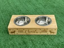 Dog Bowl Double Water and Food - Wooden Personalised Pet Dish Bamboo
