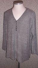 Damenpullover mit kleiner Knopfleiste hellgrau Gr. 52 ,
