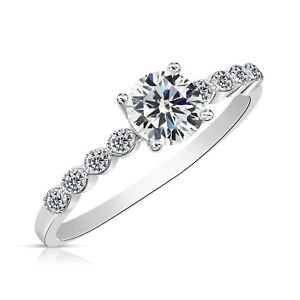 Sterling Silver Thin Band 1 Ct. Round Brilliant CZ Promise Ring, Moissanite Ring