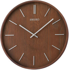 "Seiko Maddox 13"" Brown Ash Veneer Wooden Wall Clock QXA765BLH"