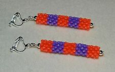 Striped Red & Purple Bead & Silver Clip On Dangle Earrings - Lightweight - NEW