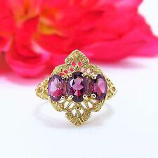 Vintage 10 K Yellow gold Three stone Pink Rhodolite Garnet Ring 1.60 ctw size 6