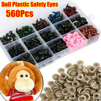 560pcs Plastic Safety Eyes Noses For Bear Stuffed Toy Animal Puppet Doll 6-14mm