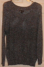 LADIES GRAY I.N. STUDIO LONG SLEEVE WITH ROUND--NECK LINE SWEATER SIZE XL--NEW
