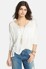 133817 New Free People The Gatsby Long Sleeve Patchwork Blouse Tunic Top Large L