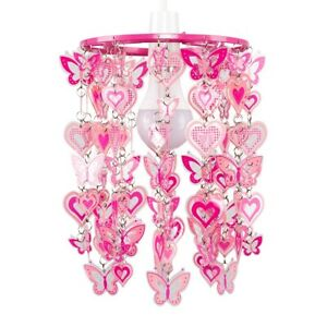Bedroom Ceiling Pendant Shade Girls Pink Hearts and Butterflies Light shade LED