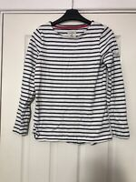 Joules Womens Top Long Sleeve T Shirt Blue White Stripes Size 8 (D662)