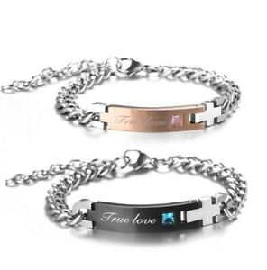 Couple Bracelet Stainless Steel artificial Crytal Crown Her King His Queen HOT!!