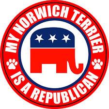 "Norwich Terrier A Republican 5"" Dog Political Sticker"
