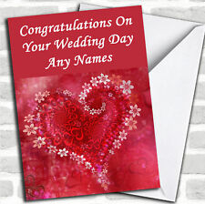 Red Flower Love Heart Romantic Wedding Day Customised Card