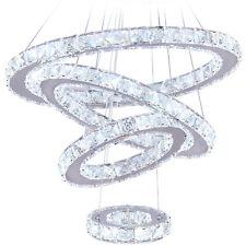 Modern LED Crystal Chandelier 4 Rings Adjustable Ceiling Pendant Light Fixture