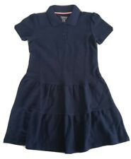 French Toast Girls Ruffle Pique Polo Dress, Navy- Size 6/6X