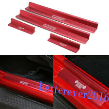 fit 2007-2018 Jeep Wrangler JK 4dr Red Door Sills Scuff Plate Entry Guards