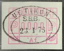 Switzerland #Mi1.1 Test Print 0000 Uetikon SBB 23.I.78 FRAMA ATM [Machine A1]