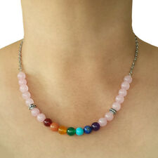 Natural Round Gemstone Chakra Rose Quartz Necklace 8mm with Oval Chain
