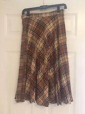"""Plaid School girl Pleated Wool Skirt sz 10 26"""" waist vintage brown tan diagonal"""