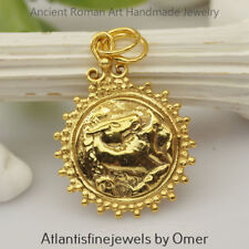 Sterling Silver Horse Coin Pendant 24k Yellow Gold Vermeil Ancient Art Handmade