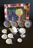 Vintage Child Tea Set 12 Piece W Box East Germany GDR & 4 Piece Stone Plate Set