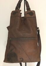 LUCKY BRAND ABBEY ROAD Italian Lamb Leather Crossbody Messenger Brown w/Flowers