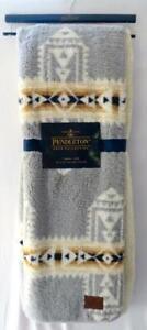 New Gray & Gold Aztec Pendleton Sherpa Fleece Crossroads Southwest Throw Blanket