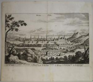 BUDAPEST HUNGARY 1646 MATTHÄUS MERIAN UNUSUAL ANTIQUE COPPER ENGRAVED CITY VIEW