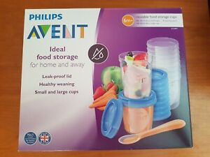 Philips Avent Baby Food Storage Cups 180/240 ML 20 Pack-10 each + spoon RRP £30