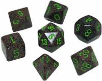 Dice Chessex Polyhedral 7 Die Set CHX25310 Dice in a clear plastic box
