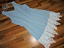 Zauberhaftes Slip-in-Kleid 54 mit Häkelspitze hellblau-weiß Sommer ärmellos NEU
