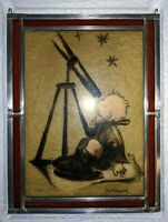 M.J. Hummel Stained Glass Hanging Window Panel By Bernhardt, Telescope Child MIB