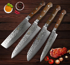 4Pcs Kitchen Knife Set 67 Layers Damascus Steel Chef Cleaver Utility Santoku Cut