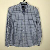 J. Crew Shirt Mens Size L Blue Plaid Long Sleeve Button Down Cotton