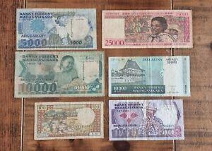 MADAGASCAR - Mixed lot of 6 old Banknotes