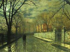 John ATKINSON GRIMSHAW peintures chiffres lune Lane pluie Art Poster 1610omlv