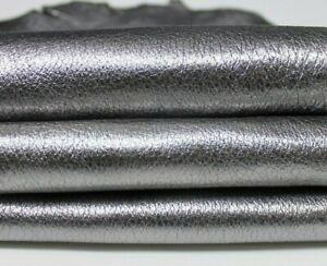 METALLIC SMOKED SILVER grainy Italian Lambskin leather skin 6sqf 1.1mm #A5120