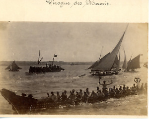 Nouvelle-Zélande, Polynésie, pirogue des Maoris Vintage albumen print,  Tirage