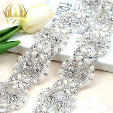 Wedding Rhinestone and Pearls Trim Applique  for Dresses or Bridal Belts 1Yard