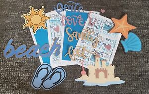 Beach Ocean  scrapbook printed die cuts & printed photo mats set #298
