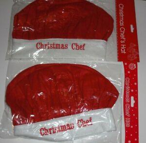 2 x Adult Christmas Chef Felt Hat Novelty Gift One Size Unisex.2 x Xmas Chef Hat