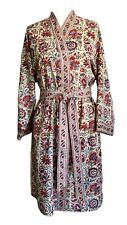 Anokhi Red & Blue Floral Dressing Gown/Robe, 100% Cotton, Knee Length, One Size