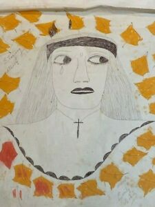 Lee Godie Chicago Outsider Artist Mixed Media Portrait of Woman on Canvas