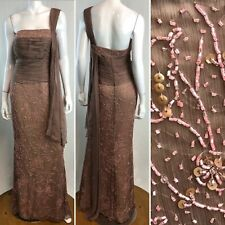 NWT Montage Mon Cheri 8 Beaded Brown Silk Chiffon One Shoulder Maxi Dress Gown M