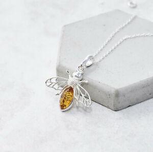 Honeybee Amber Pendant Necklace Bumblebee Pendant Sterling Silver Bee Pendant