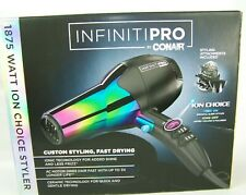 Conair Infiniti Pro Ceramic Hair Dryer Rainbow Chrome Ion Choice 1875 Watt #490
