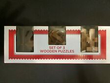 Set of 3 Wooden Interlocking Puzzles Small Size From Holiday Time