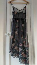 Bershka - Flowering Fields Embroidered - Black Mesh Dress - Size S