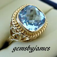 FINE Ring 14K SOLID YELLOW GOLD 6+Ct NATURAL BLUE TOPAZ Vtg HAND CREATED DESIGN